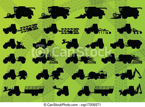 detalhado, combina, industrial, caminhões, harvesters, tratores, ilustração, equipamento, silhuetas, vetorial, escavadores, cobrança, fundo, agricultura, agricultura - csp17009371