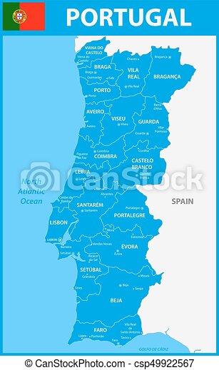 Detalhado Mapa Portugal Capitals Regioes Estados Cidades Ou
