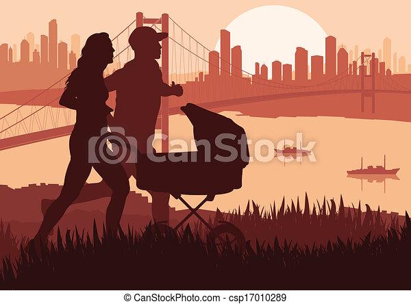 detalhado, mulher, ilustração, maratona, ativo, corredores, homem - csp17010289