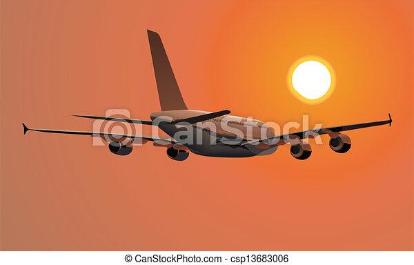 detalhado, passageiro, a380, ilustração, jetliner - csp13683006