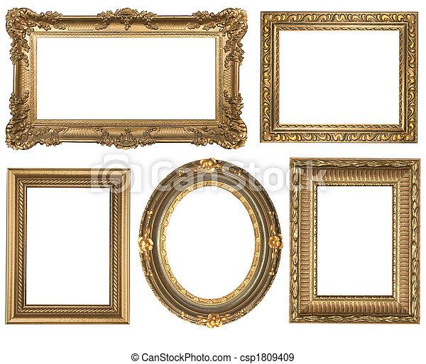 detaljerad, fyrkant, guld, årgång, oval, inramar, picure, tom - csp1809409