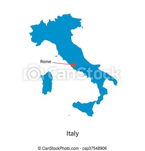 detaljerad, karta, vektor, italien, stad, rom, huvudstad - csp37548906