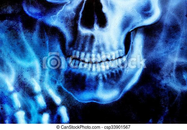 Detallado, azul, esqueleto, cráneo, fuego, mano, fondo., negro ...