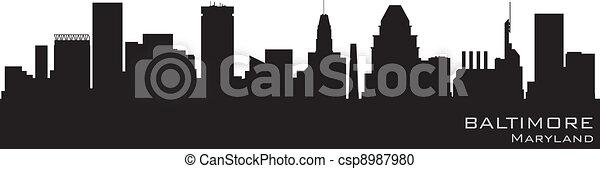 Baltimore, Maryland Skyline. Detallado vector silueta - csp8987980