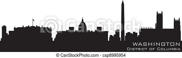 Washington, distrito de Columbia Skyline. Silueta vectorial detallada - csp8995954