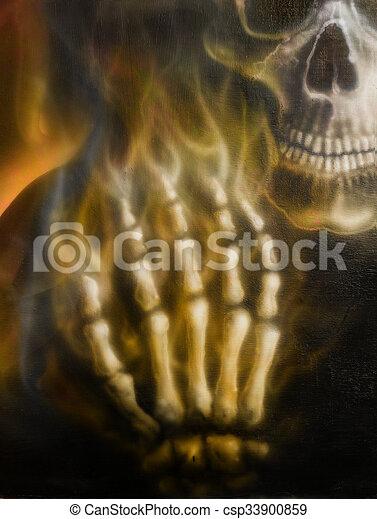 Detallado, esqueleto, cráneo, fuego, mano, fondo., negro ...
