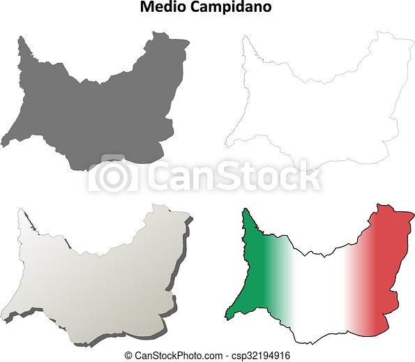 Medio Campidano en blanco detallado mapa establecido - csp32194916