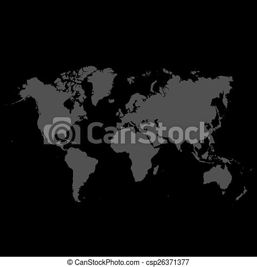 detallado, mapa, fondo negro, mundo - csp26371377