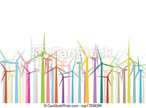detallado, molinos de viento, ecología, colorido, electricidad, ilustración, siluetas, vector, generadores, colección, plano de fondo, viento - csp17838398