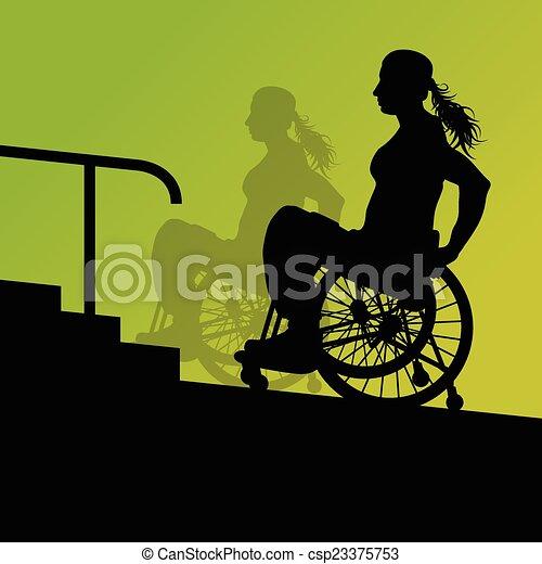 Una joven activa discapacitada en una silla de ruedas detallada - csp23375753