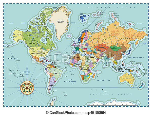 Detallado Mundo Politico Mapa