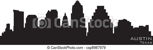 Austin, texas Skyline. Detallado vector silueta - csp8987979