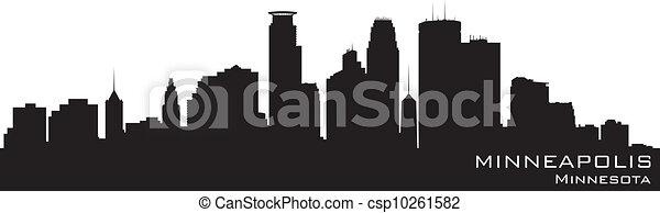 Minneapolis, Minnesota Skyline. Detallado vector silueta - csp10261582