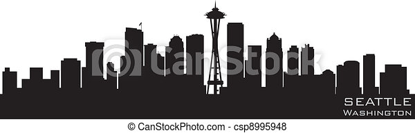 Seattle, Washington Skyline. Detallado vector silueta - csp8995948