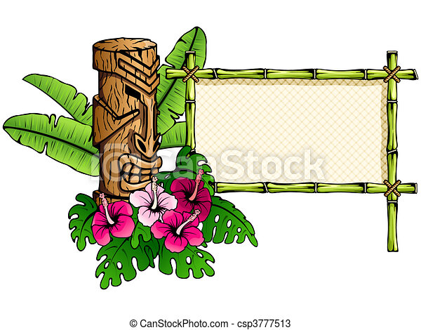 Estandarte hawaiano detallado con Tiki - csp3777513