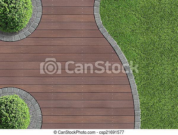 Los detalles del jardín en la vista aérea - csp21691577