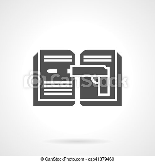 Detective Book Glyph Style Vector Icon Silhouette Sign Of Detective