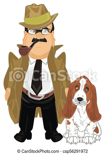 Detective cane detective fumo suo cane