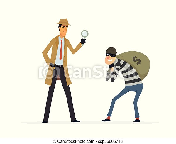 detective catching a thief cartoon people characters illustration