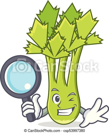 detective celery character cartoon style vector illustration vector rh canstockphoto ca celery stalk clipart celery leaves clipart