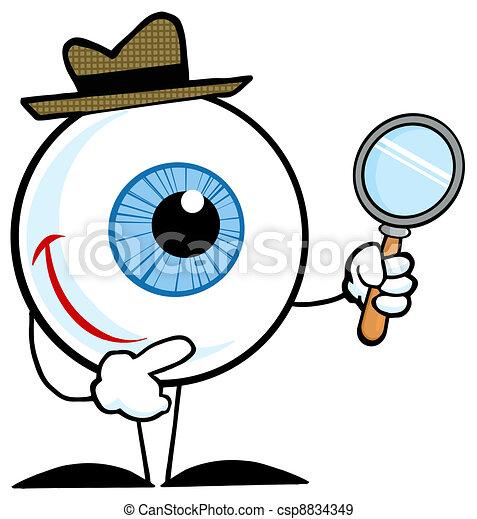 detective eyeball smiling detective eyeball holding a