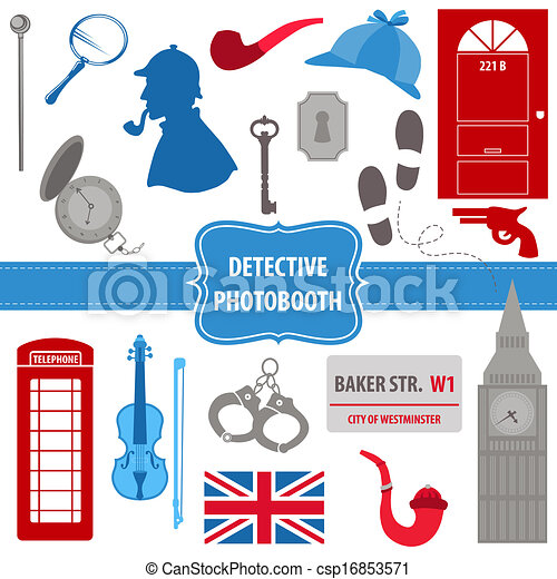 Detective Sherlock Party set - photobooth props - silhouettes, pipes, mask, hat - in vector - csp16853571