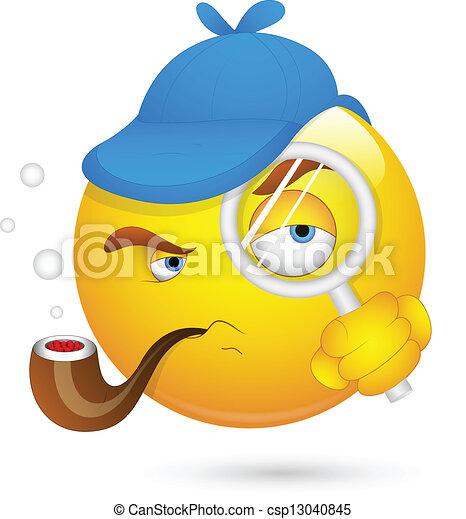 Detective Smiley Face - csp13040845