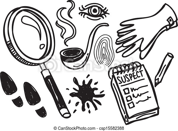 detective stuff doodle vector