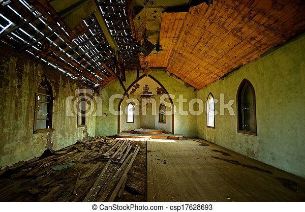 Deteriorating Interior of a Church - csp17628693