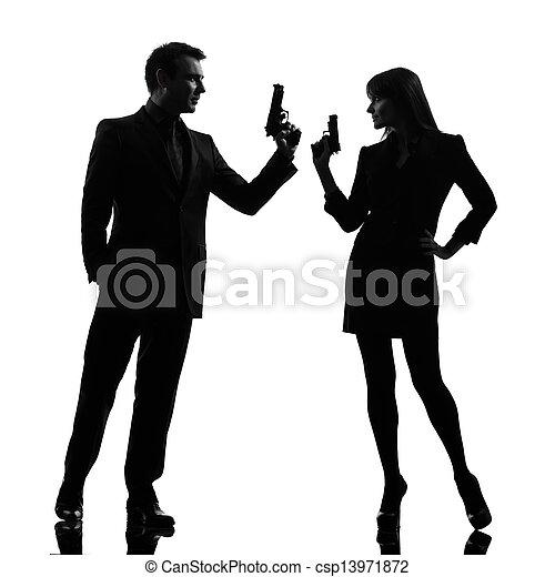 detetive, mulher, silueta, par, agente, segredo, criminal, homem - csp13971872