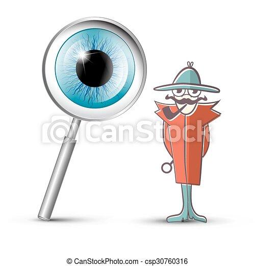 detetive, vidro, símbolo, olho, magnificar - csp30760316