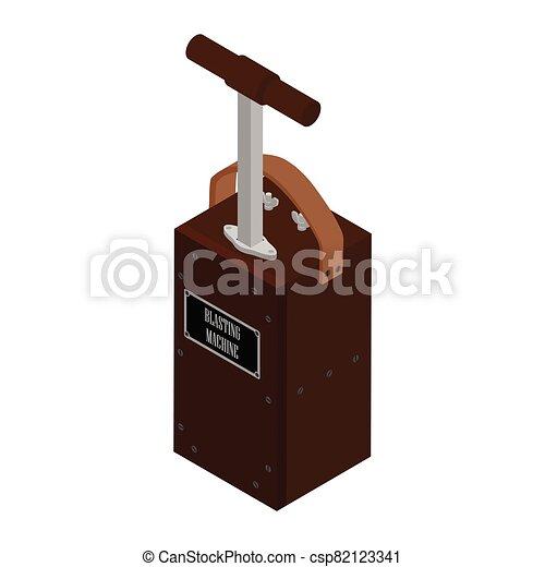 Detonator box. Blasting Machine isolated on white background. Caution explosive - csp82123341