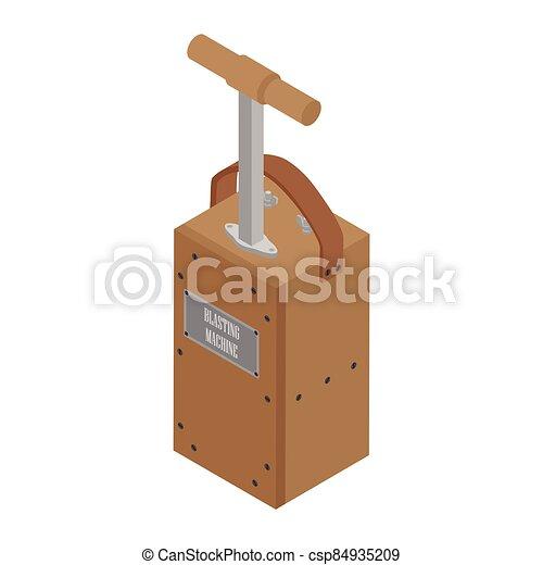 Detonator box. Blasting Machine isolated on white background. Caution explosive - csp84935209
