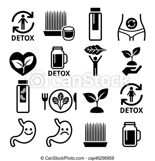 detox body cleaning with juices vegetables or diet icons