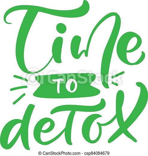 detox, golpe, bebida, mano, zalamero, dibujado, caligrafía, social, logotipo, style., medios, blog, cepillo, tiempo, café, verde, garabato, cartel, bottle., texto, letras, o - csp84084679