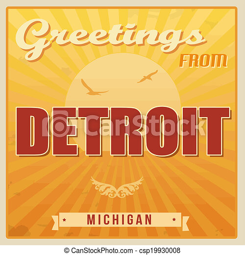 Detroit michigan vintage poster vintage touristic greeting card detroit michigan vintage poster csp19930008 m4hsunfo