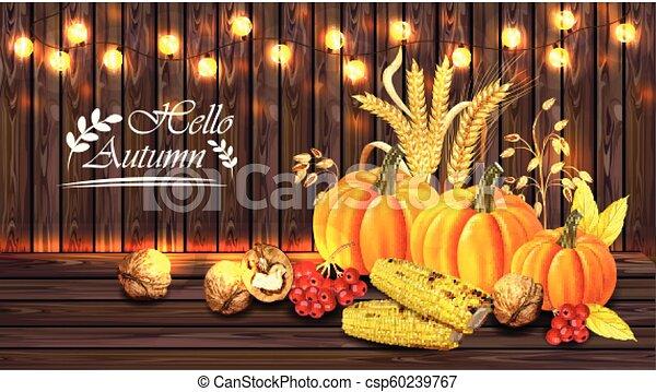 dettagliato, granaglie, realistico, legno, zucca, autunno, luci, vettore, scheda, fondo, 3d, raccogliere, walnuts., design. - csp60239767