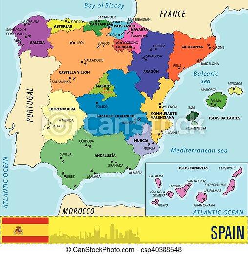 Cartina Spagna.Dettagliato Mappa Vettore Spagna