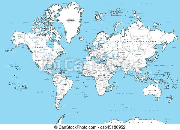 Cartina Mondo Politica Con Capitali.Dettagliato Mondo Politico Mappa Dettagliato Mappa Illustration Politico Capitali Altamente Fiumi Vettore Mondo Canstock