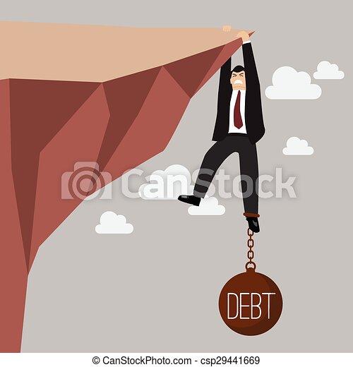 El hombre de negocios se esfuerza en mantener el acantilado con la carga de la deuda - csp29441669