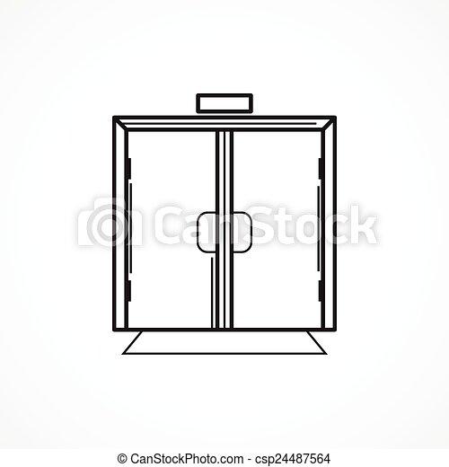 deur, binnen, glas, vector, black , lijn, pictogram - csp24487564