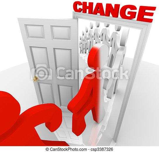 deuropening, door, het schrijden, veranderen - csp3387326
