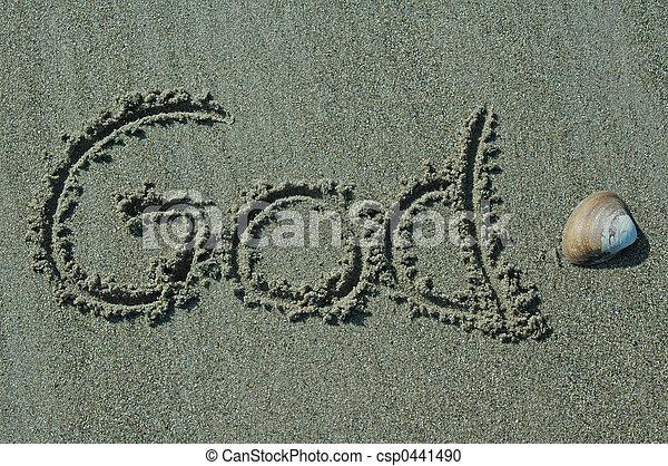 deus, areia, -, escrita - csp0441490