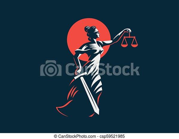 deusa, themis, dela, justiça, pesos, espada, mãos - csp59521985