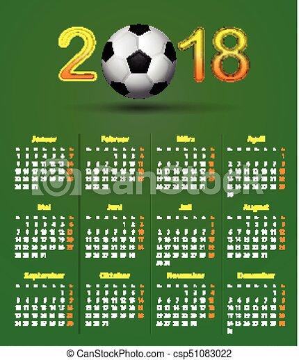 Deutsch calendar 2018 soccer theme, linen back soccer ball