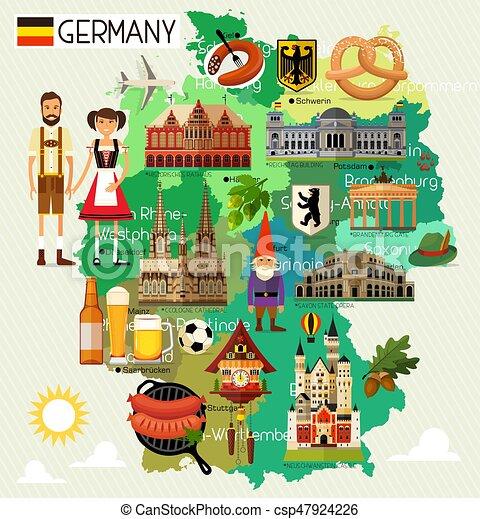 Deutschland, reise, map. Landkarte, illustration., reise, map ...