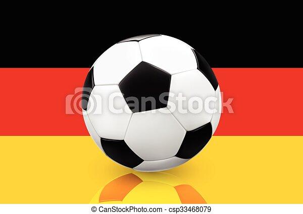 Fussballball Auf Deutscher Flagge Realistischer Fussball