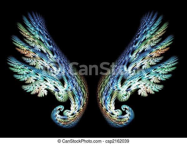 deux ailes ange tonalit s bleu ange sur deux arri re plan vert noir ailes. Black Bedroom Furniture Sets. Home Design Ideas
