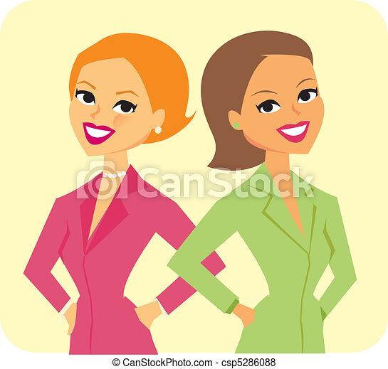 deux, illustration, femmes affaires - csp5286088