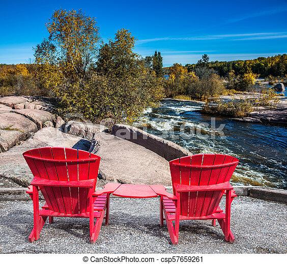 deux, rouges, chaises, plage - csp57659261